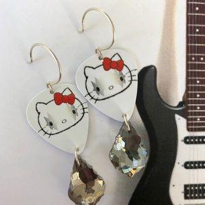 KISS Guitar Pick Earrings OOAK Smoke Swarovski